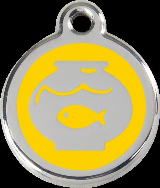 Katzenmarken mit Gravur, Adressanhänger für Katzen, Fish Bowl Yellow