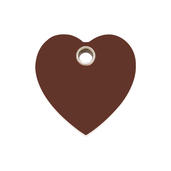 Hundemarke + Gravur, Hundemarken gravieren aus Plastik Heart Brown