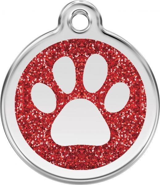 Hundemarken- Hundemarke mit Gravur - Tiermarke graviert Katzenmarke  Paw Prints Red Glitter
